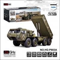 恒冠模型 HG-P803A 8通道1:12 仿真8驱军用自卸卡车